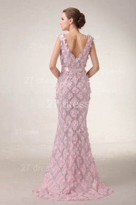 Pink Mermaid Prom Gowns Sash Bowknot Evening Dress UKes UK with Beadings_4