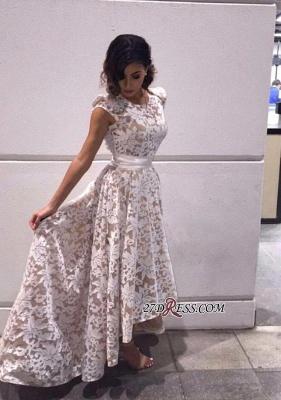 Capped-Sleeves Sheer A-line Hi-Lo Flower-Print White Prom Dress UKes UK_2