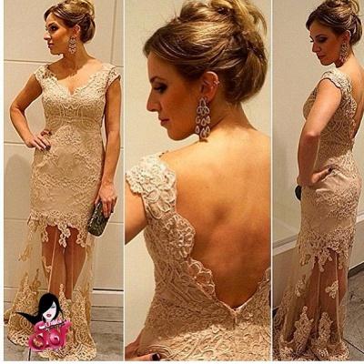 Gold Lace a-line Formal Evening Dress UKes UK with Cap Sleeves Vestidos De Chiffon Prom Dress UKes UK_2