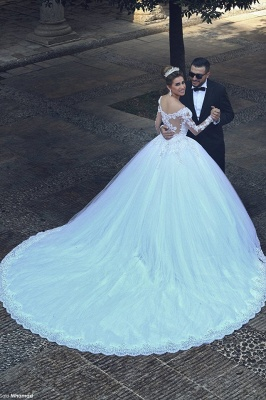 Newest Long Sleeve Tulle Princess Wedding Dress Appliques_1