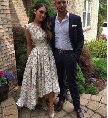 Capped-Sleeves Sheer A-line Hi-Lo Flower-Print White Prom Dress UKes UK_1
