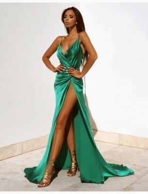 Elegant Green V-Neck Prom Dress UKes UK Floor Length With Split BK0_2