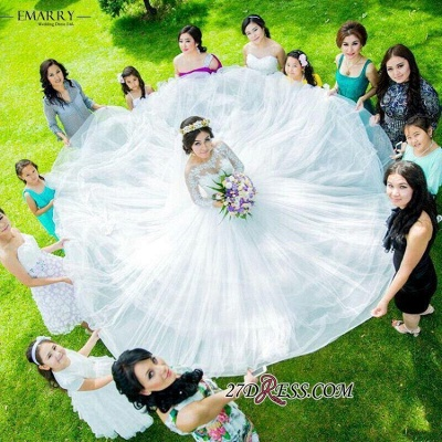 Ball-Gown Long-Sleeve Tulle Elegant Lace Princess Wedding Dress_3