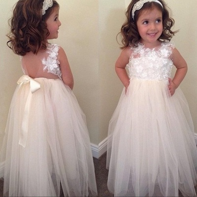 Bowknot A-line Floral-Appliques Cute Floor-Length Flower-Girl-Dresses BA8373_2