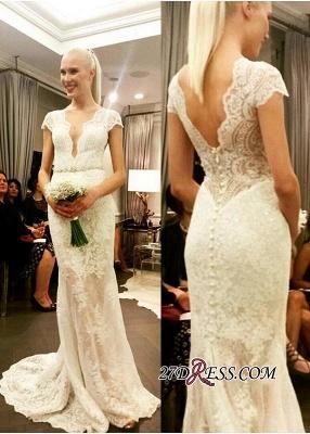 Cap-Sleeve Button Elegant Designer Floor-Length Lace Wedding Dress_2