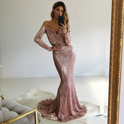 Luxury Long-Sleeve V-Neck Prom Dress UK | Mermaid Sequins Evening Gowns_3