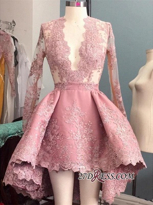 Pink Appliques Sexy Long-Sleeves V-Neck Hi-Lo Prom Dress UK_1