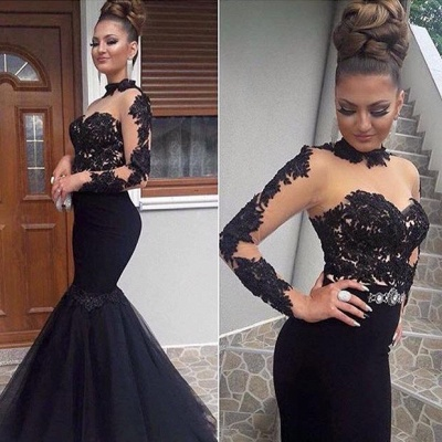 Luxury Black Lace Prom Dress UK Long Sleeve Mermaid Long Party Dress UK BA8045_3