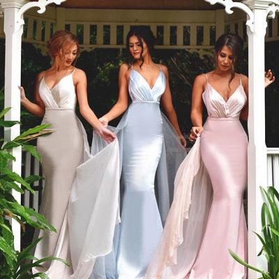 Timeless Spaghetti Straps V-Neck Bridesmaid Dress UK Long Ruffles Mermaid_3