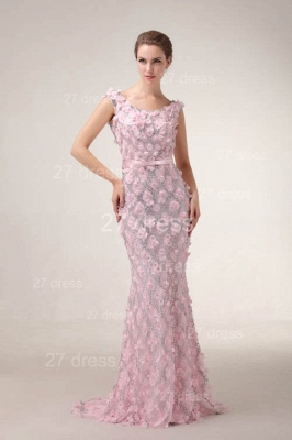 Pink Mermaid Prom Gowns Sash Bowknot Evening Dress UKes UK with Beadings_2