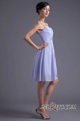 Sexy Online Ruffles Short Lavender Chiffon Spaghetti-Straps Bridesmaid Dress UKes UK_3