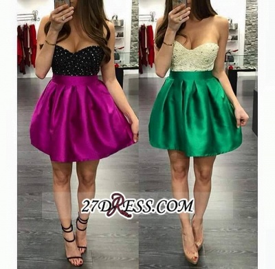 Mini Elegant Top Short Beaded Sweetheart-Neck Homecoming Dress UKes UK BA3717_1