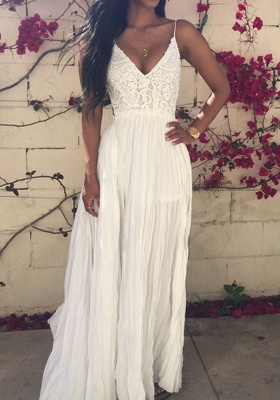 Sexy V-neck Sleeveless Long Prom Dress UK With Lace Appliques_4