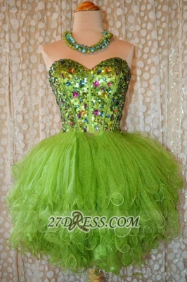 Lovely Sweetheart Sleeveless Short Homecoming Dress UK Beadings Crystals Lace-up Ruffles Cocktail Gown_3