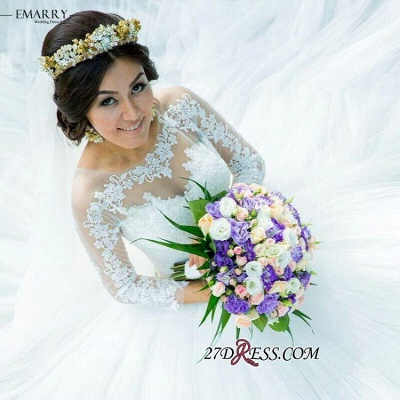 Ball-Gown Long-Sleeve Tulle Elegant Lace Princess Wedding Dress_2