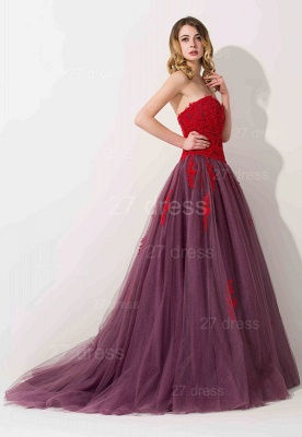 Delicate Lace Appliques Sweetheart Evening Dress UK Sweep Train_2