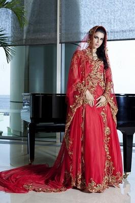 Elegant Long Sleeve Red Arabic Wedding Dress With Appliques_2