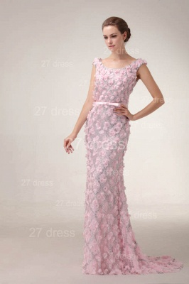 Pink Mermaid Prom Gowns Sash Bowknot Evening Dress UKes UK with Beadings_6