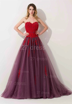 Delicate Lace Appliques Sweetheart Evening Dress UK Sweep Train_1