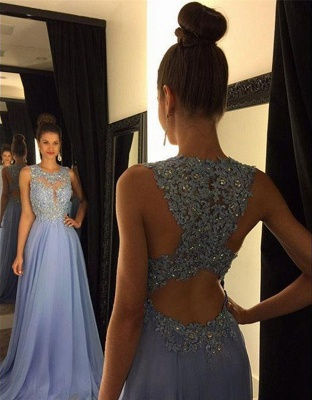 Beautiful Lace Appliques Sleeveless Prom Dress UK Long Chiffon Party Gowns AP0_1