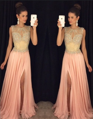 Delicate Beadings Chiffon Illusion Prom Dress UK Front Split Sleeveless AP0_2