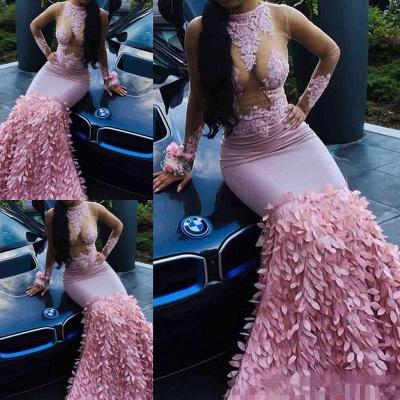 Pink lace prom Dress UK, long-sleeve evening party Dress UK BK0 BA8498_3