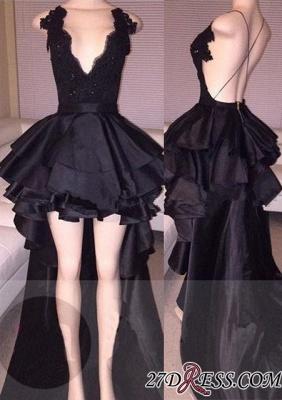 Cocktail Black Layered Lace Elegant Short Hi-Lo Prom Dress UK_2