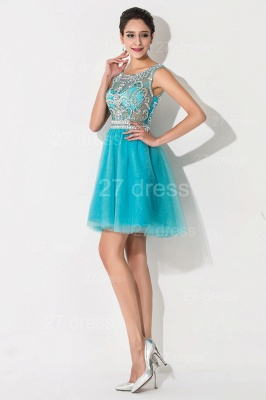 Modern Illusion Cap Sleeve Tulle Homecoming Dress UK With Crystals_4