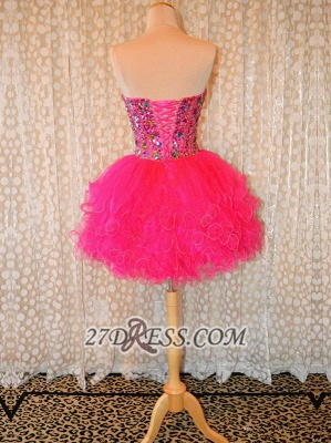 Lovely Sweetheart Sleeveless Short Homecoming Dress UK Beadings Crystals Lace-up Ruffles Cocktail Gown_2