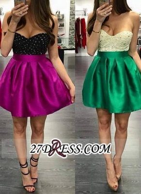 Mini Elegant Top Short Beaded Sweetheart-Neck Homecoming Dress UKes UK BA3717_2