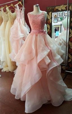 Elegant Ruffles Lace Appliques Prom Dress UK Pearl Pink Bow_1