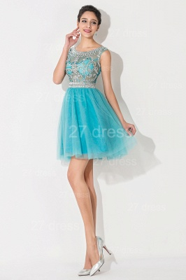 Modern Illusion Cap Sleeve Tulle Homecoming Dress UK With Crystals_2