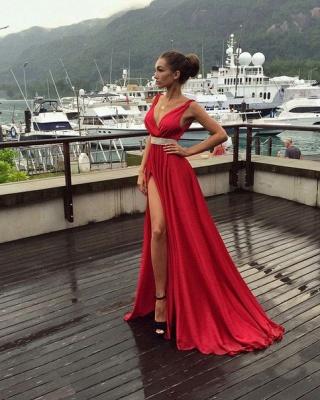 Elegant Red V-Neck Sleeveless prom Dress UK Long With Front SPlit BA3374_3