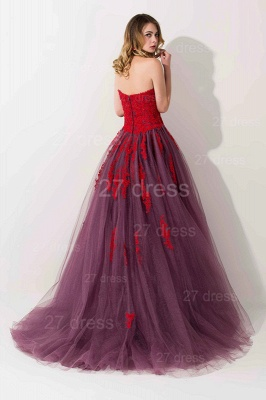 Delicate Lace Appliques Sweetheart Evening Dress UK Sweep Train_3