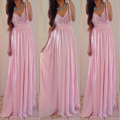 Sexy V-neck Sleeveless Long Prom Dress UK With Lace Appliques_3