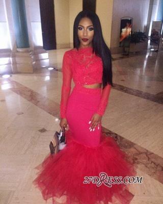 Mermaid Jewel Lace Red Tulle Long-Sleeve Elegant Prom Dress UK BK0 BA5411_4