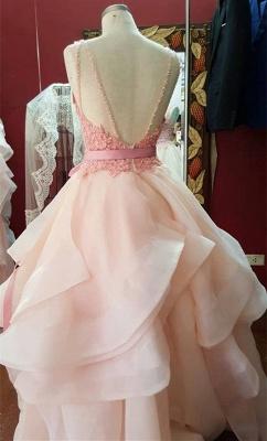 Elegant Ruffles Lace Appliques Prom Dress UK Pearl Pink Bow_2