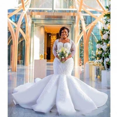 Glamorous Sexy Mermaid Lace Wedding Dresses UK  Long Sleeves Appliques Bridal Gowms_5