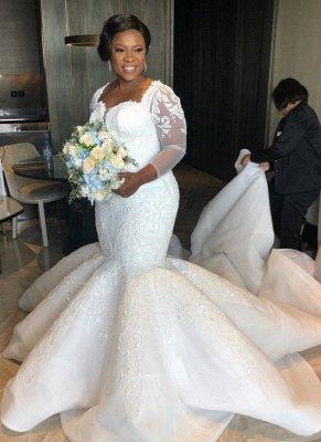Glamorous Sexy Mermaid Lace Wedding Dresses UK  Long Sleeves Appliques Bridal Gowms_1