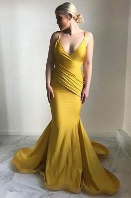Sexy V-Neck Evening Dress UK | 2019 Mermaid Yellow Prom Dress UK_1