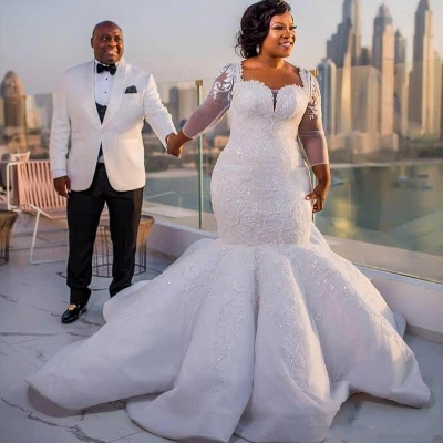 Glamorous Sexy Mermaid Lace Wedding Dresses UK  Long Sleeves Appliques Bridal Gowms_6