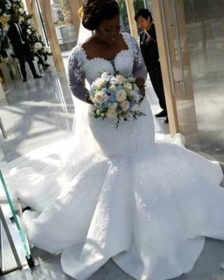 Glamorous Sexy Mermaid Lace Wedding Dresses UK  Long Sleeves Appliques Bridal Gowms_3