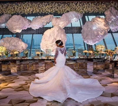 Glamorous Sexy Mermaid Lace Wedding Dresses UK  Long Sleeves Appliques Bridal Gowms_4