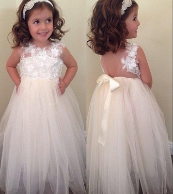 Bowknot A-line Floral-Appliques Cute Floor-Length Flower-Girl-Dresses BA8373