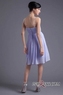Sexy Online Ruffles Short Lavender Chiffon Spaghetti-Straps Bridesmaid Dress UKes UK_4