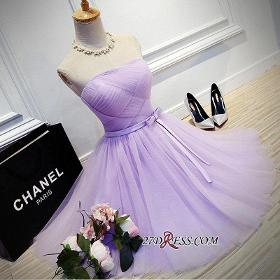 Short Romantic Strapless Ruched-Top With Sash Homecoming Dress UKes UK_6