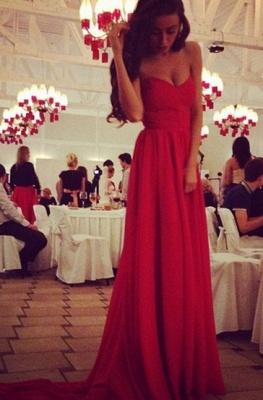 Elegant red sweetheart long chiffon prom Dress UK on sale_1