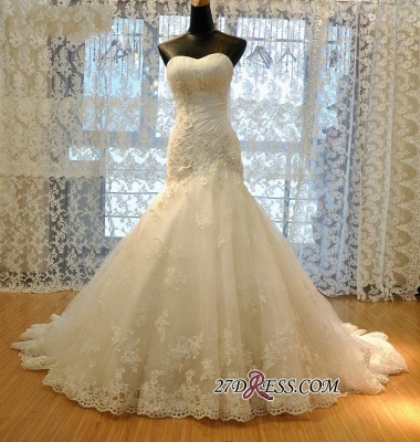 Ruched Flowers Beads Sweetheart-Neck Lace-Up Back Sexy Mermaid Lace Wedding Dresses UK_1