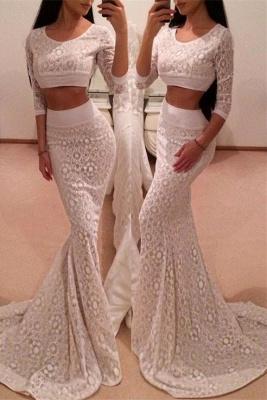 Hot 3/4 Sleeve Lace Prom Dress UK Two Pieces Mermaid Long_1