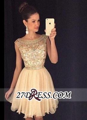 Luxury Gold Capped-Sleeves Beaded Bateau-Neck Short Homecoming Dress UKes UK AP0_3